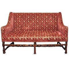 French Late 17th c. Sofa with 19th c. Silk and Gilt Thread Upholstry