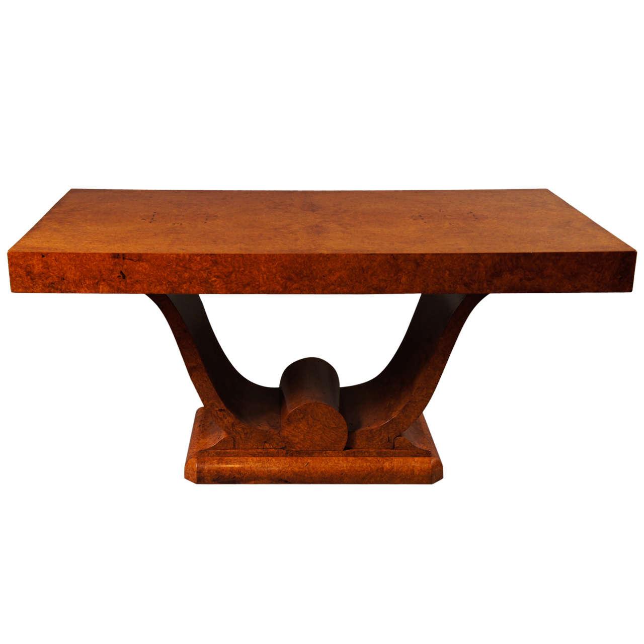 French Art Deco Amboyna Wood Table