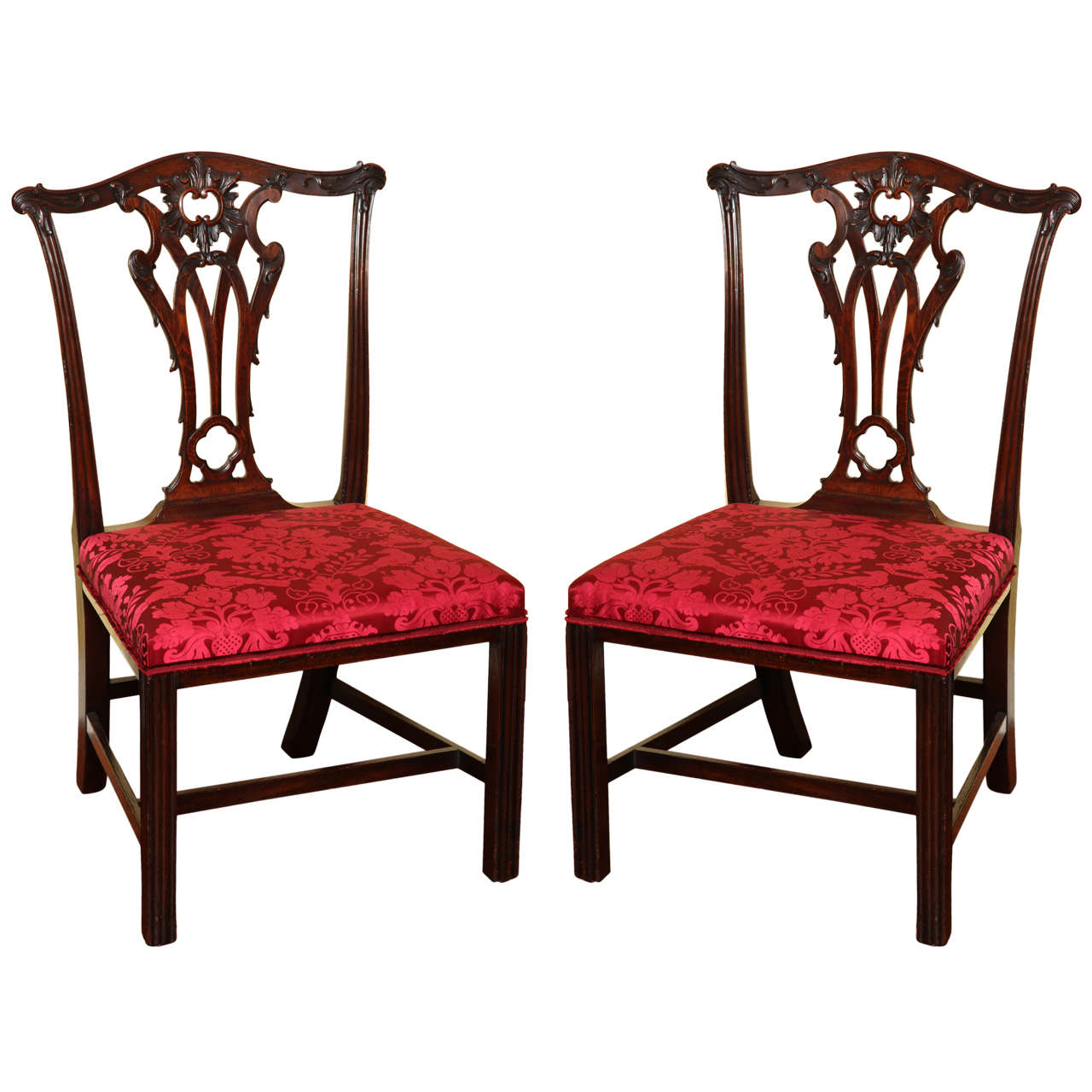 Set of Four Antique Chippendale Period Mahogany Game Chairs, circa 1765 For  Sale - Set Of Four Antique Chippendale Period Mahogany Game Chairs, Circa