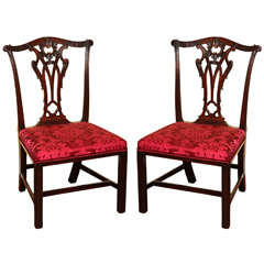 Set of Four Antique Chippendale Period Mahogany Game Chairs, circa 1765