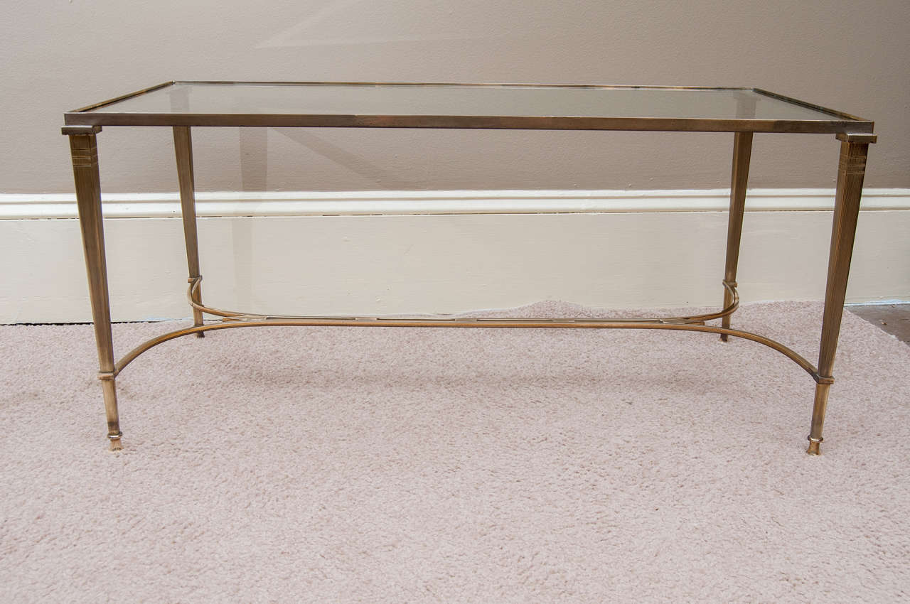 Brass And Glass Coffee Table With Mirrored Edge At 1stdibs