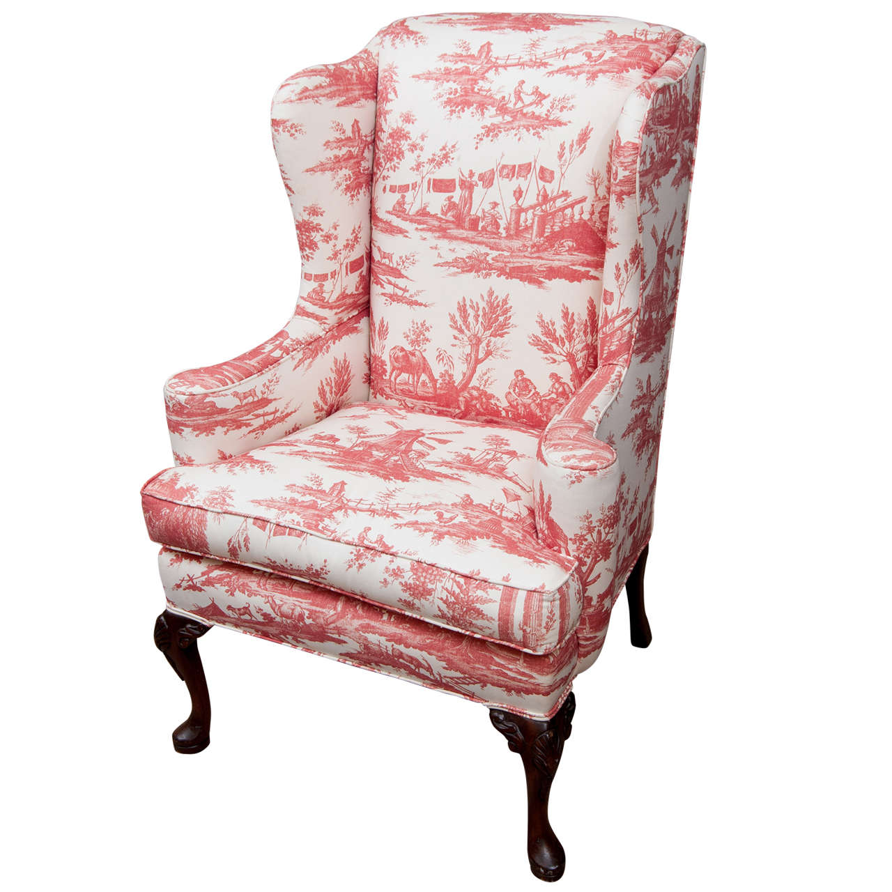 Queen Anne Style Wing Chair at 1stdibs