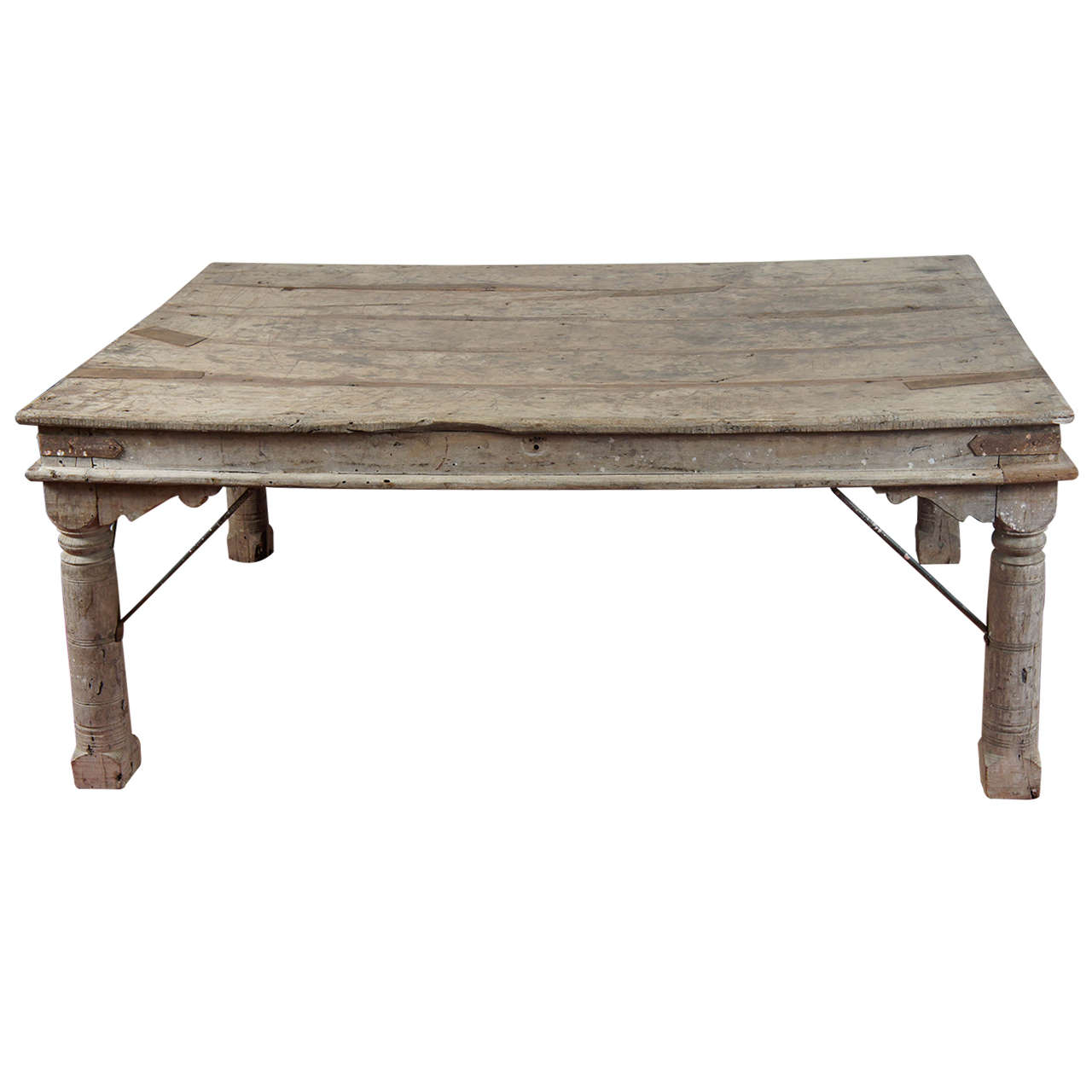 indian plank teak dining table at 1stdibs. Black Bedroom Furniture Sets. Home Design Ideas