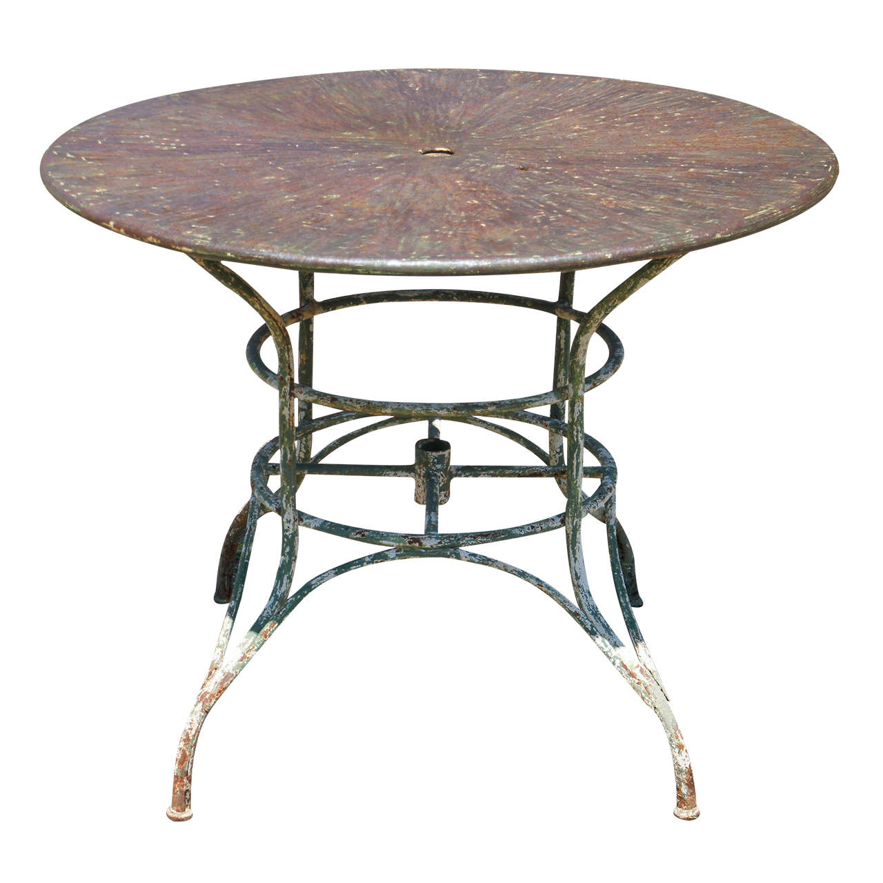 Umbrella round metal garden table at 1stdibs - Metal garden table and chairs ...