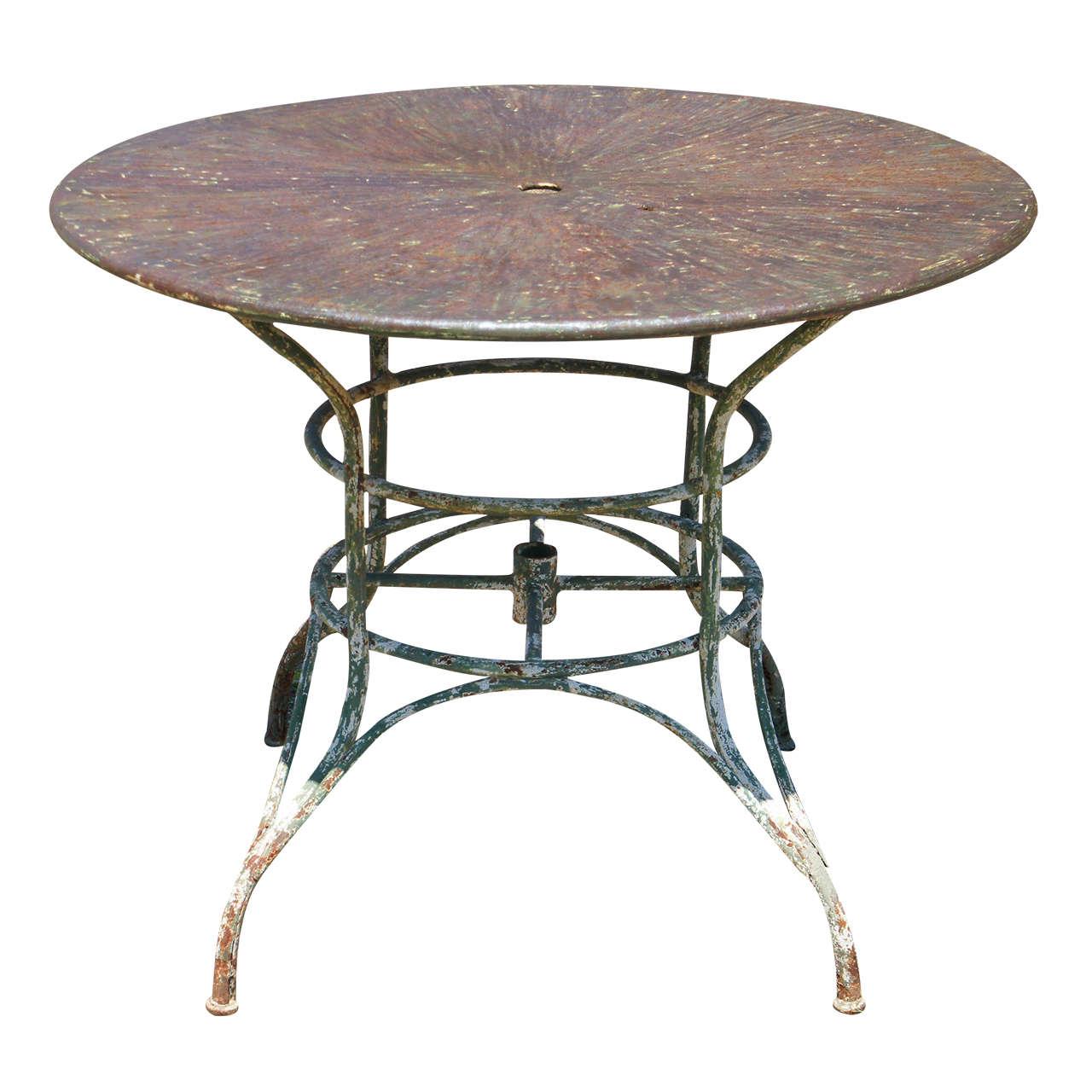 Umbrella Round Metal Garden Table At 1stdibs