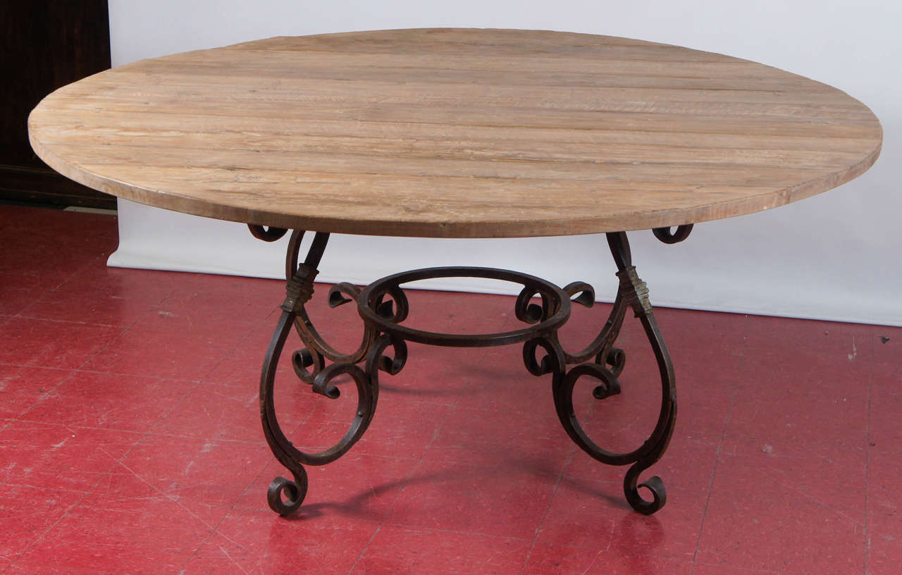 Round Teak Wood Dining Table Top Image 2