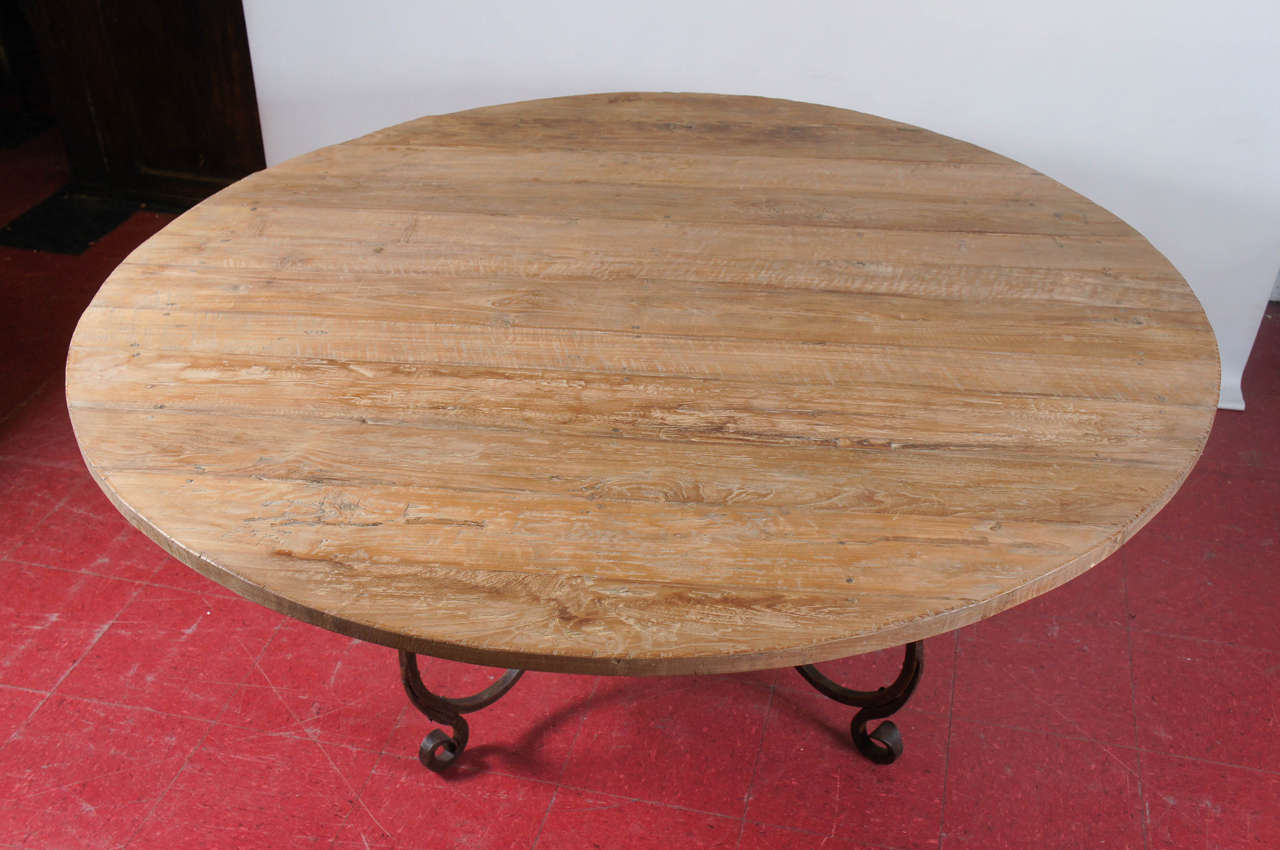 Round teak wood dining table top at 1stdibs for Round teak table top