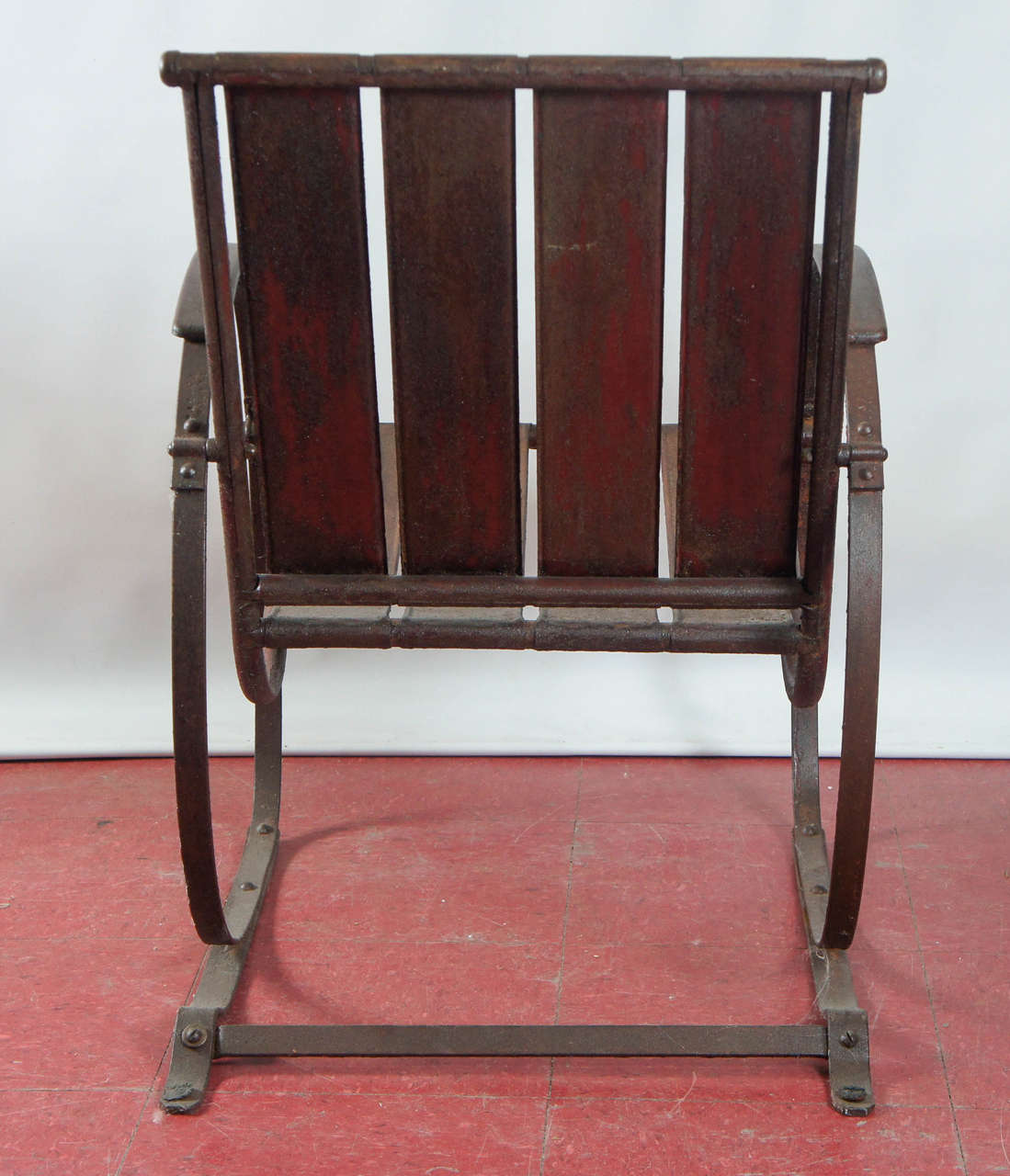 Slatted Iron Garden Chair At 1stdibs