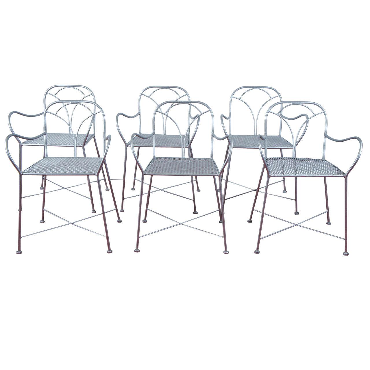 Six Art Deco Parisian Garden Chairs
