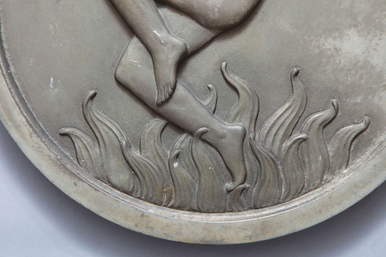 Pair of Art Deco Silver Plated Bronze Medallions For Sale 2