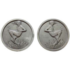 Pair of Art Deco Silver Plated Bronze Medallions