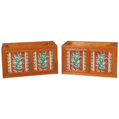Pair of Minton Aesthetic Movement Tiled Jardinieres with Lily of the Valley