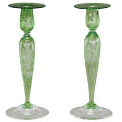 Steuben Pair of Handblown, Pomona Green Crystal Candlesticks