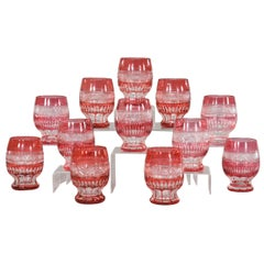 Set of 12 Bohemian, Handblown Crystal Cranberry Overlay CutTo Clear Tumblers