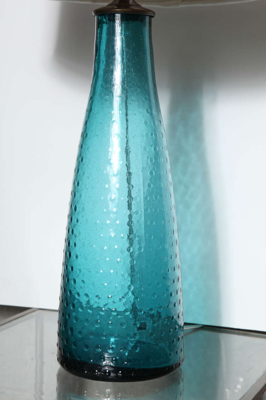 Pair Of Turquoise Art Glass Table Lamps At 1stdibs