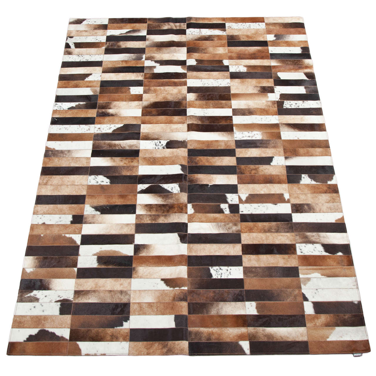 Black On Natural Intersection H 6 Hand Dyed Cowhide Rug By Avo