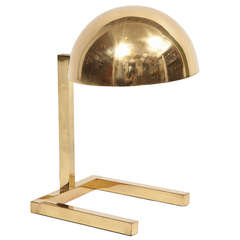 Jacques Adnet Table Lamp, Rectangular Base with Dome Shade, circa 1930s