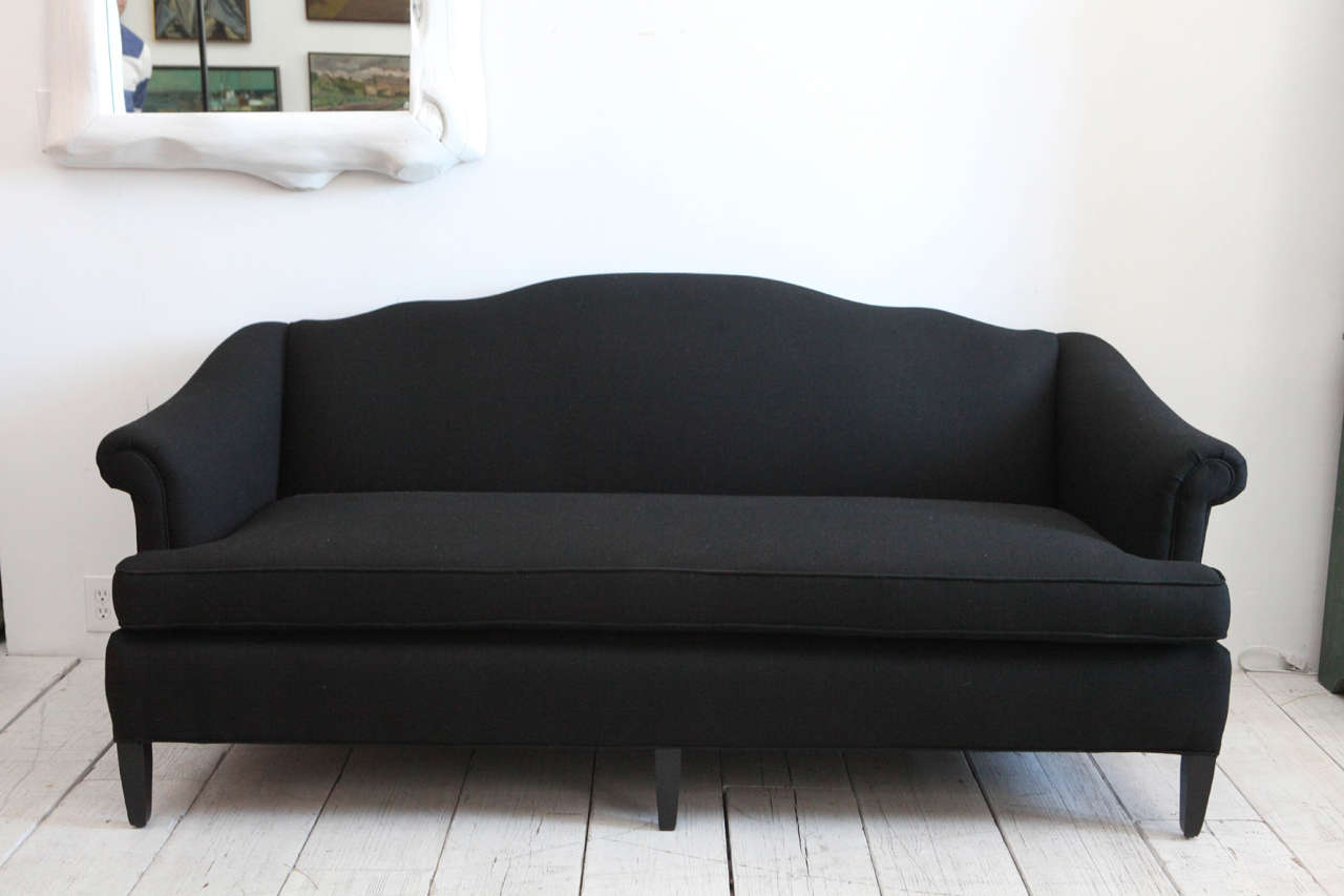 Vintage Sofa With Rolled Arms Newly Upholstered In Black Hemp Linen.