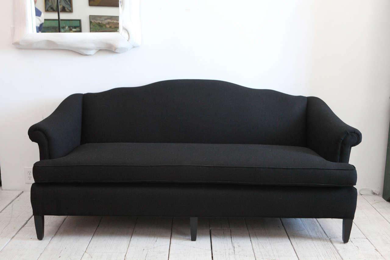 Vintage Camelback Sofa Upholstered In Black Linen At 1stdibs