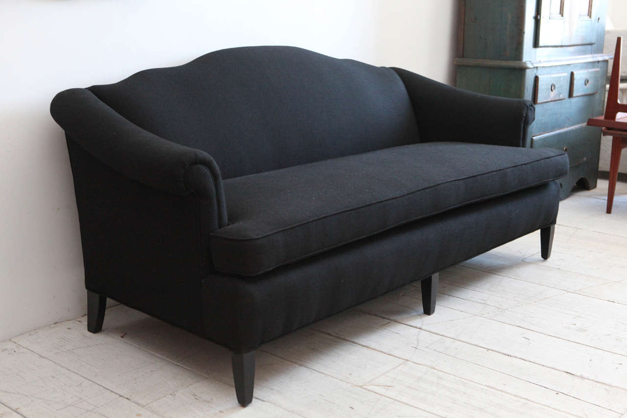 Late 20th Century Vintage Camelback Sofa Upholstered In Black Linen For