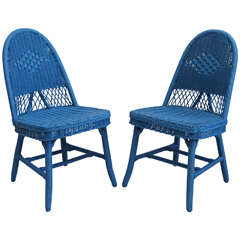Set of Four Cobalt Blue Wicker Dining Chairs