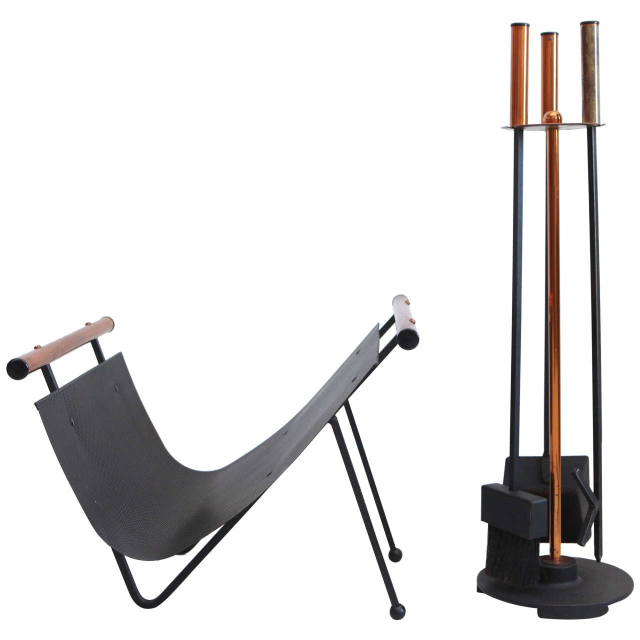 View this item and discover similar fireplace tools and chimney pots for sale at 1stdibs - Modern Art Deco style fireplace tool set and wood rack.  Tool set measures: 9