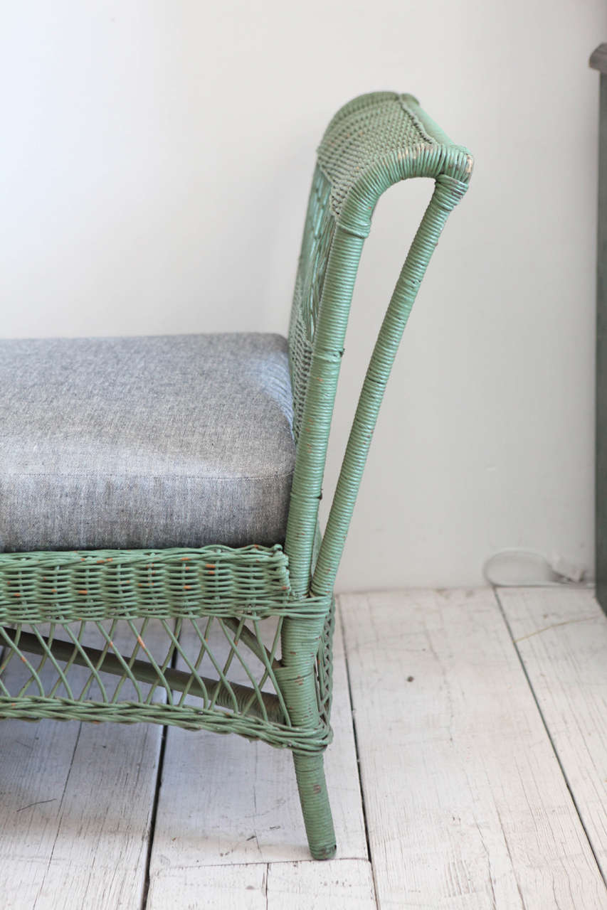 Green Wicker Daybed with Reverse Denim Cushion 3