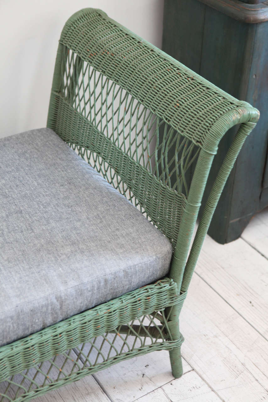 Green Wicker Daybed With Reverse Denim Cushion At 1stdibs