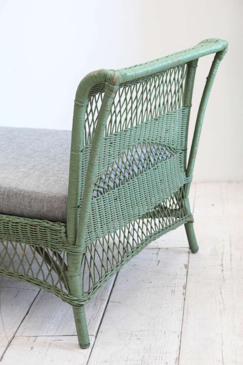 Green Wicker Daybed with Reverse Denim Cushion 6