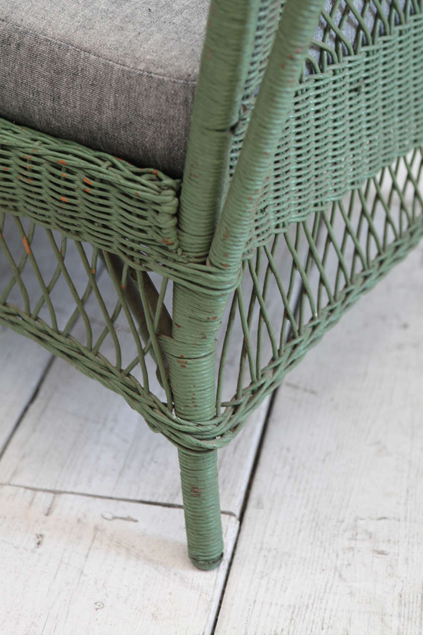 Green Wicker Daybed with Reverse Denim Cushion 7