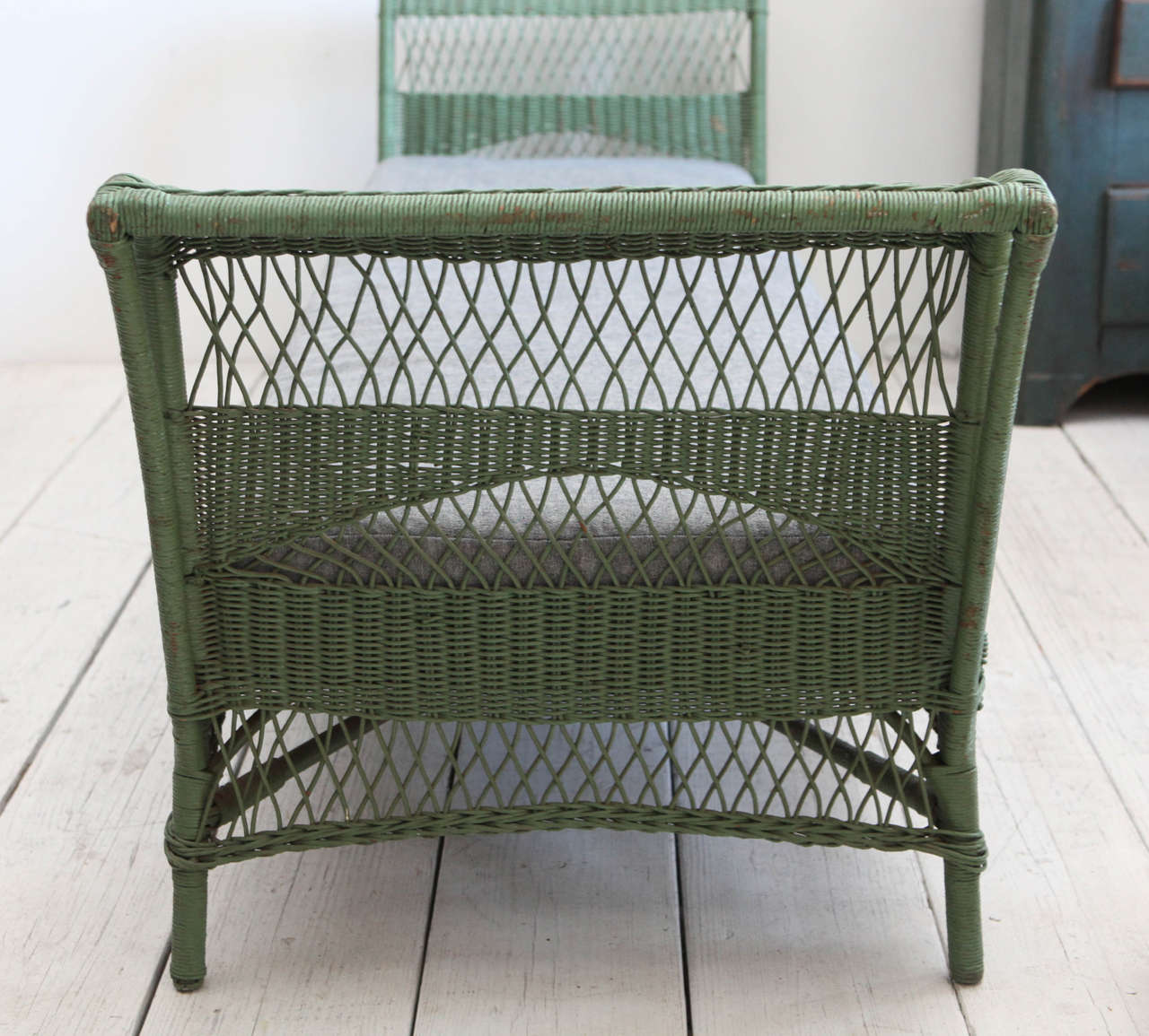 Green Wicker Daybed with Reverse Denim Cushion 8