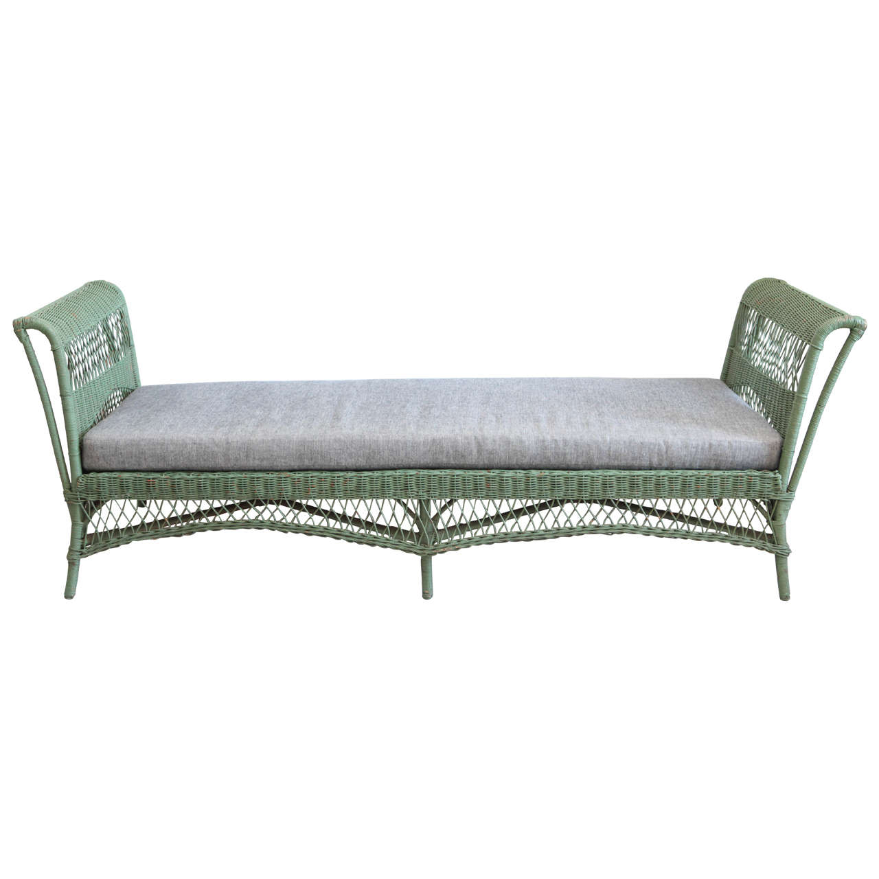 Green Wicker Daybed with Reverse Denim Cushion 1