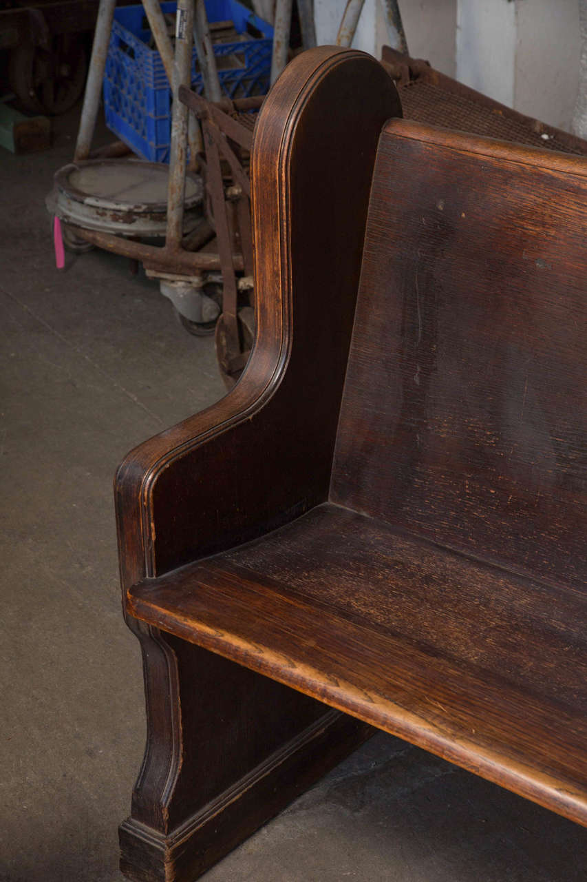 American Antique Oak Church Pew with Carved Cross For Sale