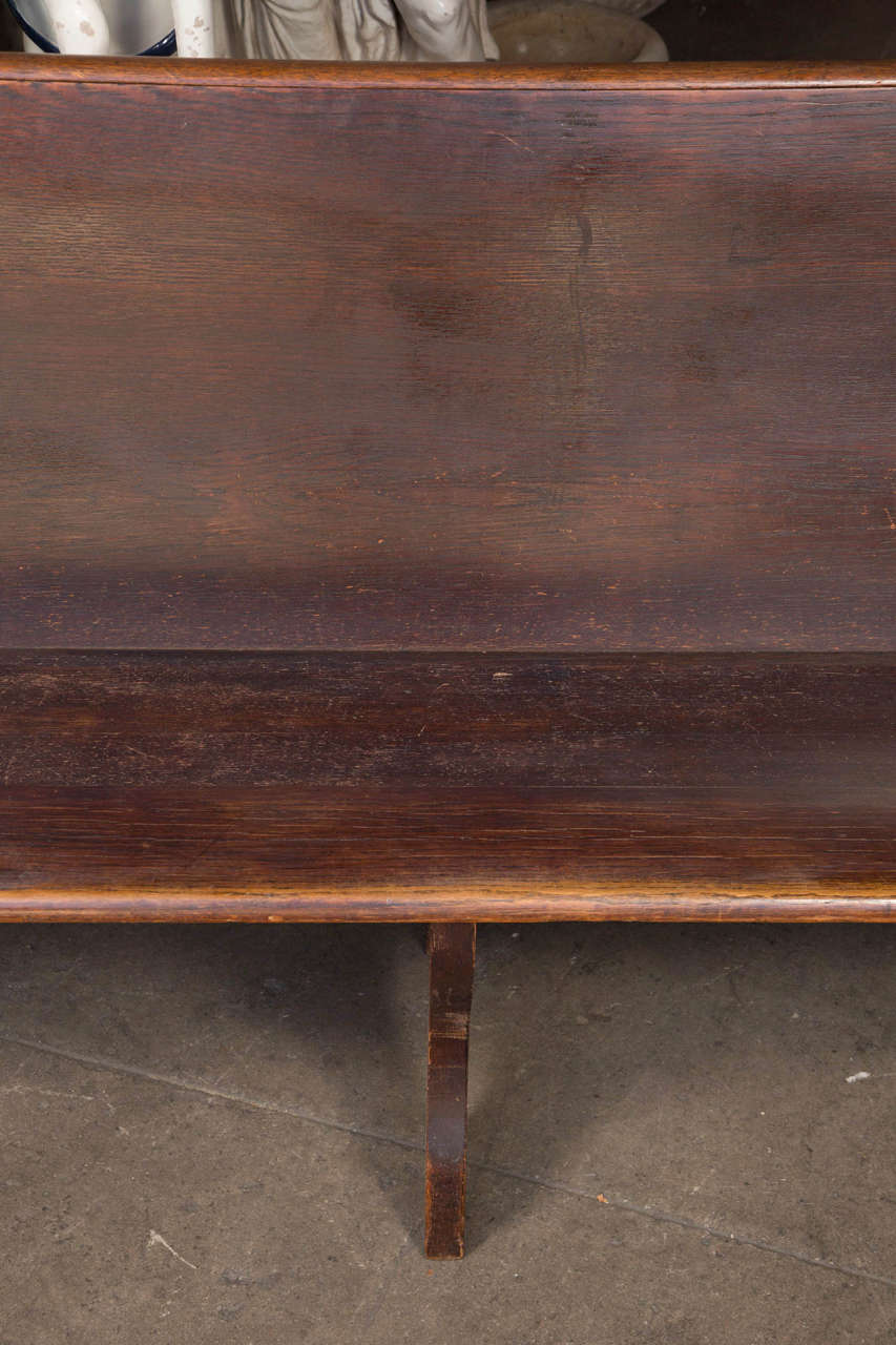Antique Oak Church Pew with Carved Cross In Good Condition For Sale In Los Angeles, CA