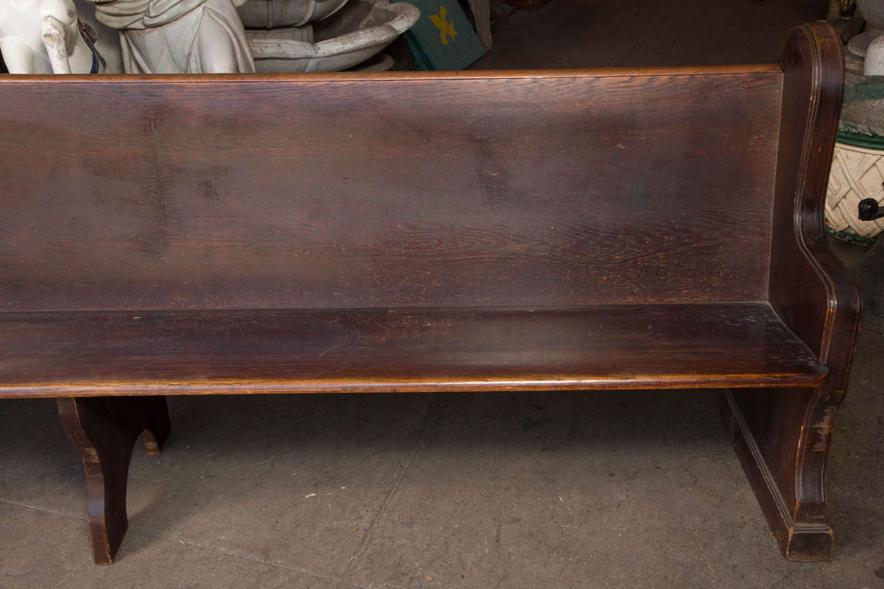 Mid-20th Century Antique Oak Church Pew with Carved Cross For Sale