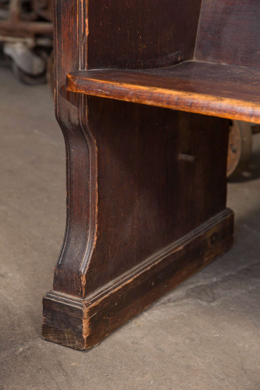 Antique Oak Church Pew with Carved Cross For Sale 1