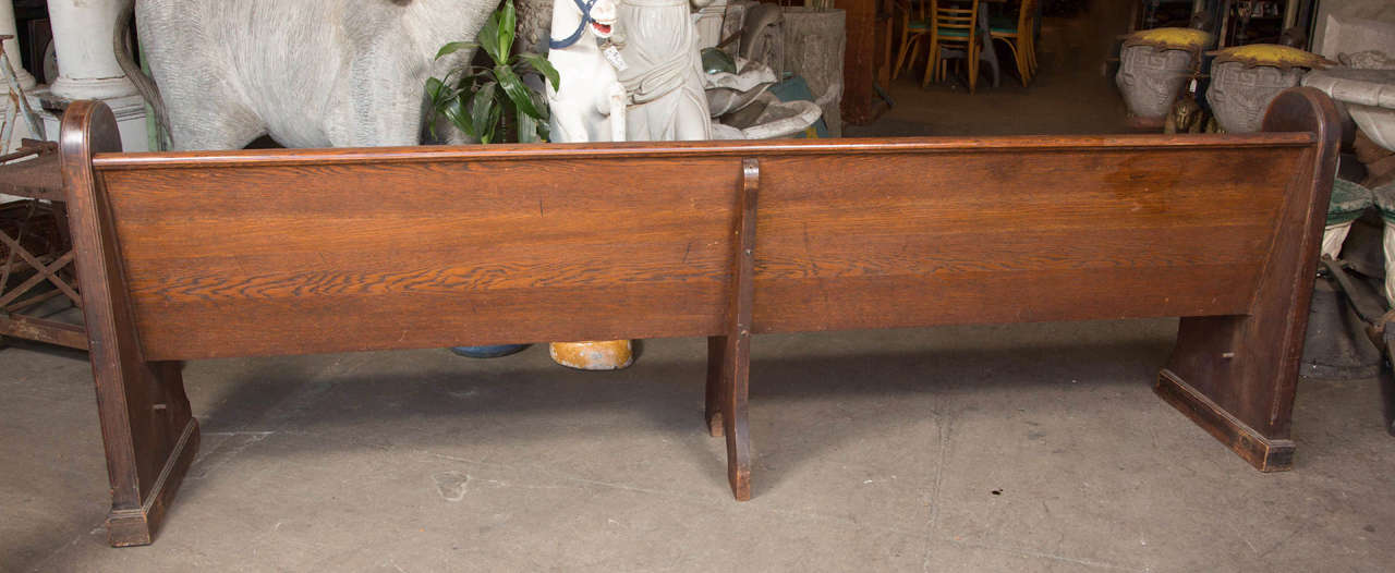 Antique Oak Church Pew with Carved Cross For Sale 4