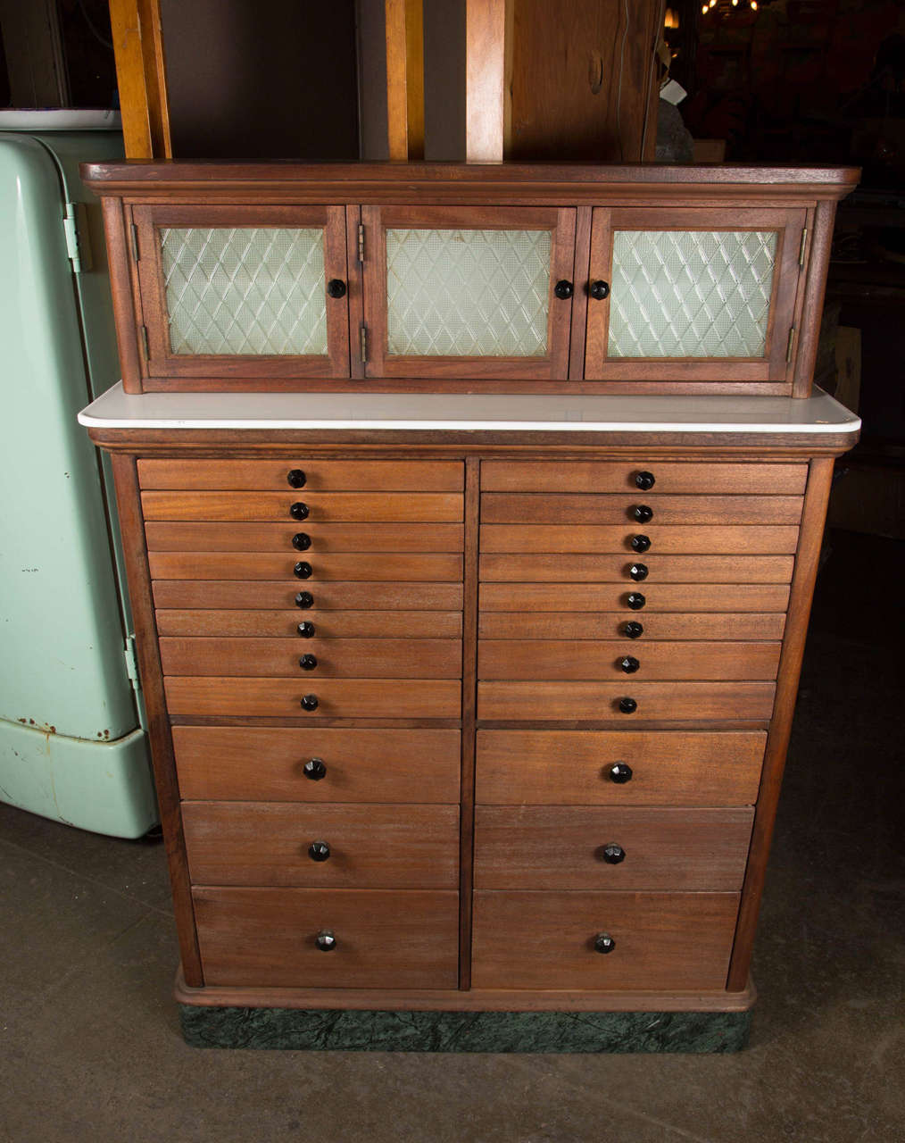 1920s Wooden Dental Cabinet with Textured Glass and Black Pulls ...
