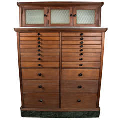 1920s Wooden Dental Cabinet with Textured Glass and Black Pulls