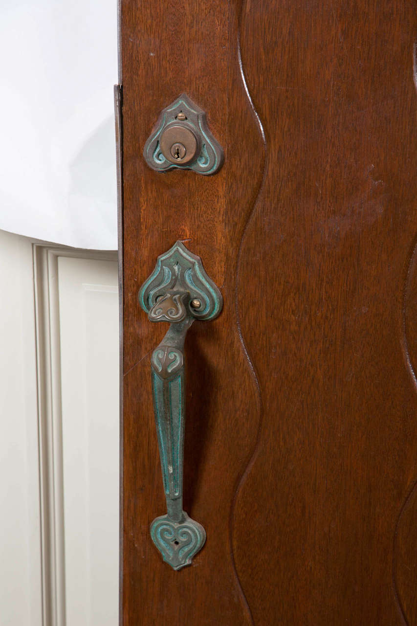 American 1920s Solid Wood Carved Arched Top Door With Original Decorative  Hardware For Sale