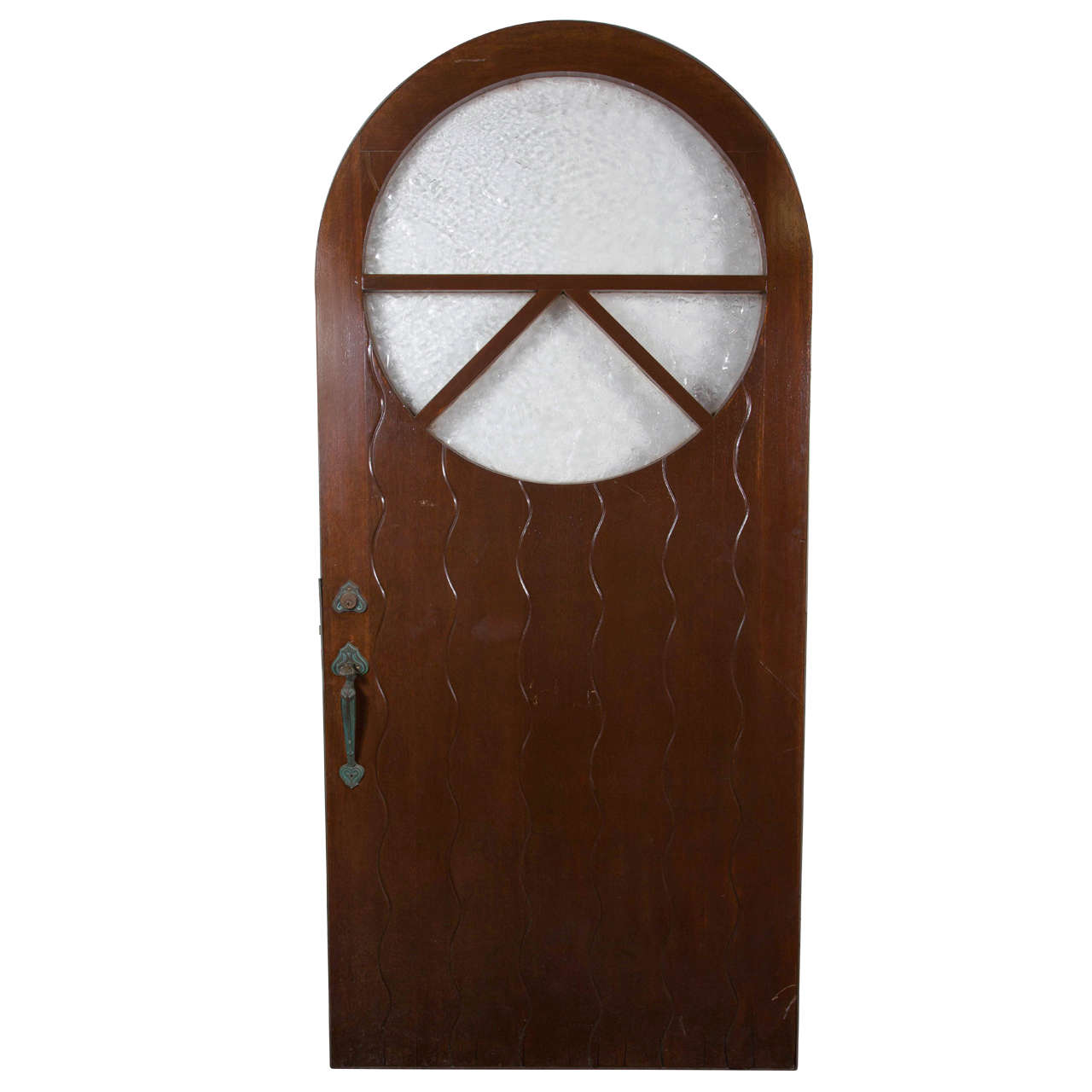 1920s Solid Wood Carved Arched Top Door with Original Decorative Hardware 1