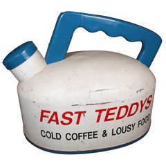 1940s Large-Scale Fast Teddy's Restaurant Teapot Sign