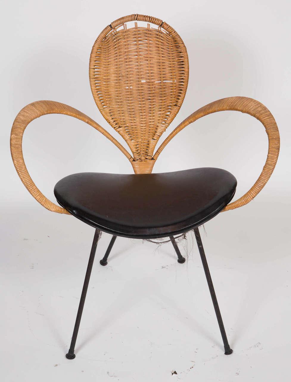 Mid-Century Modern Wicker Backed Chair 2