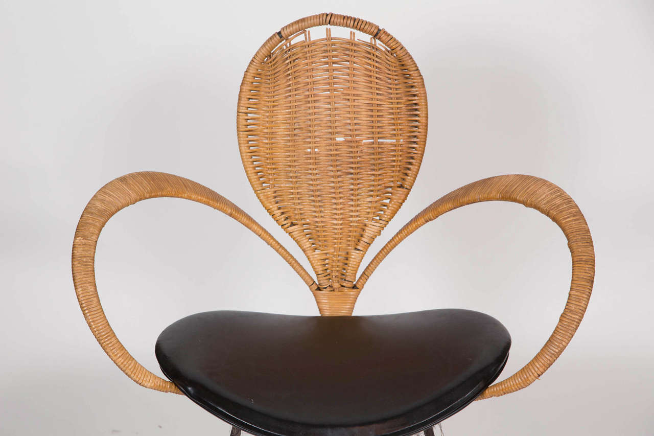 Mid-Century Modern Wicker Backed Chair 5