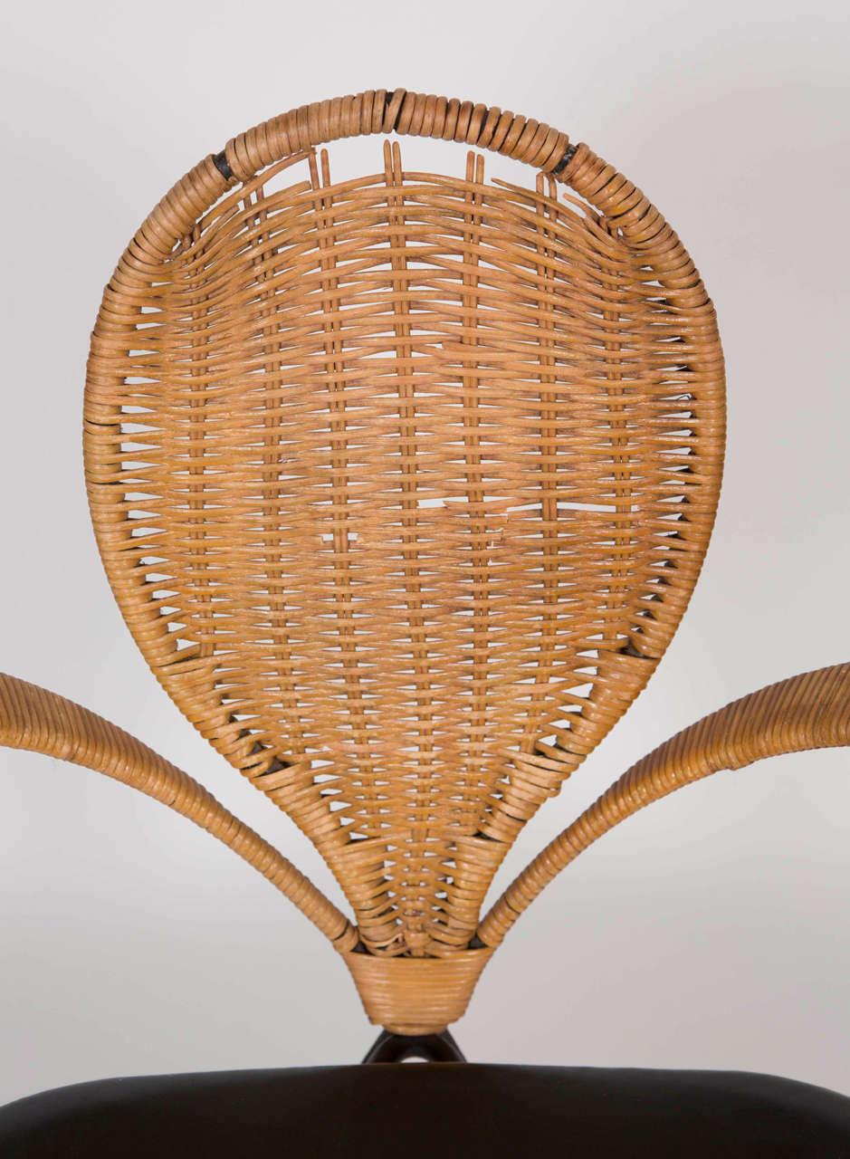 Mid-Century Modern Wicker Backed Chair 6