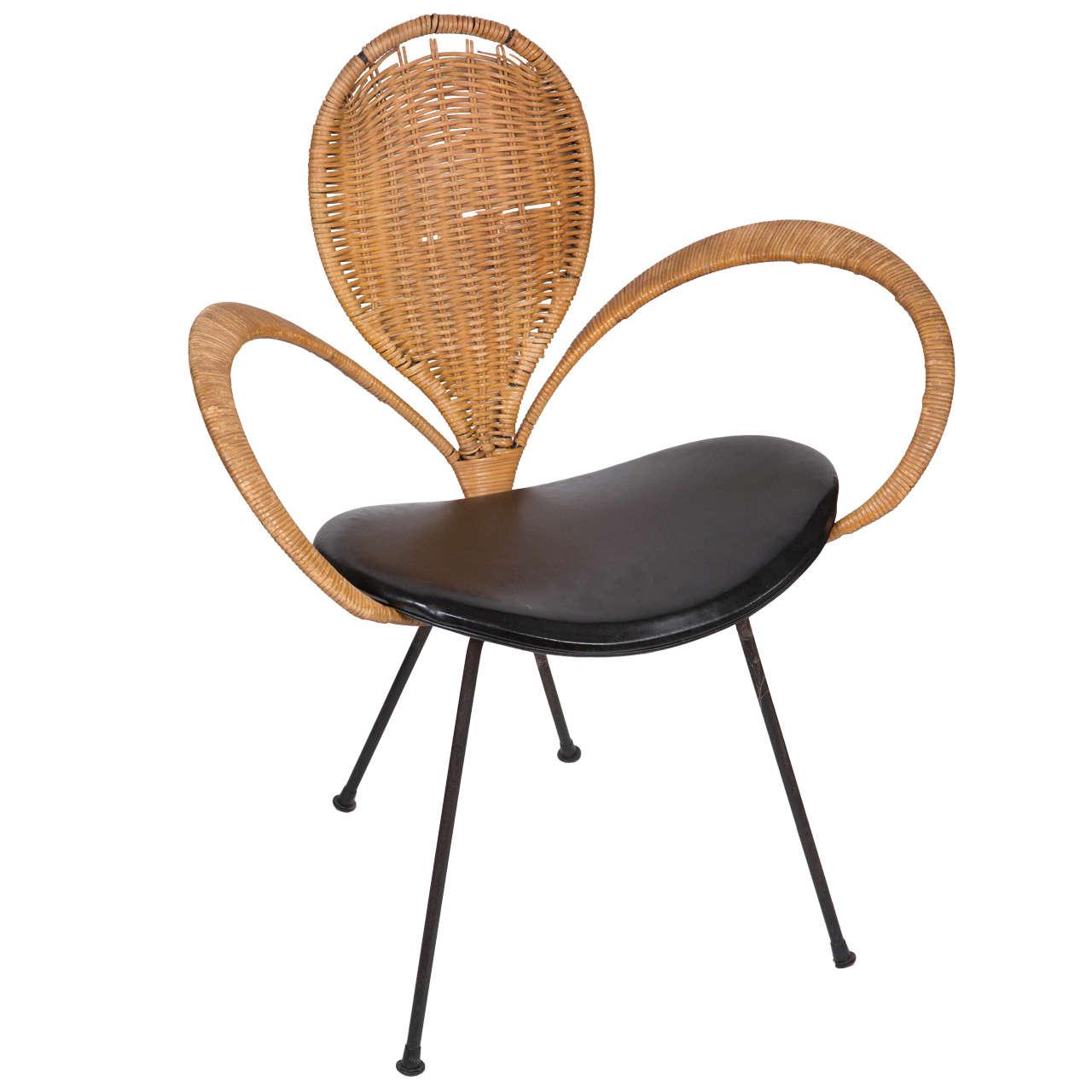 Mid-Century Modern Wicker Backed Chair 1