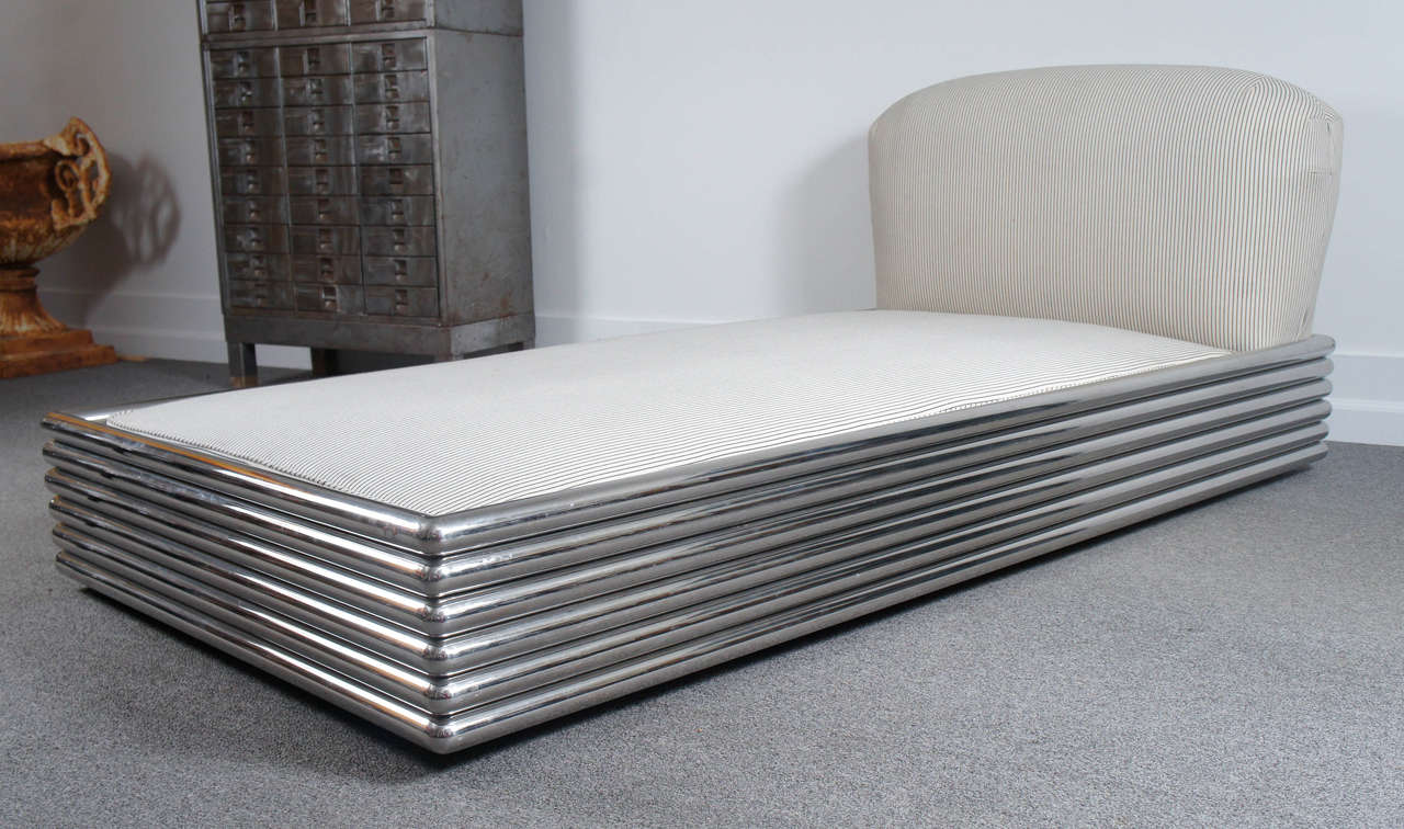 Pair polished stainless steel radiator brueton chaise for Chaise or daybed