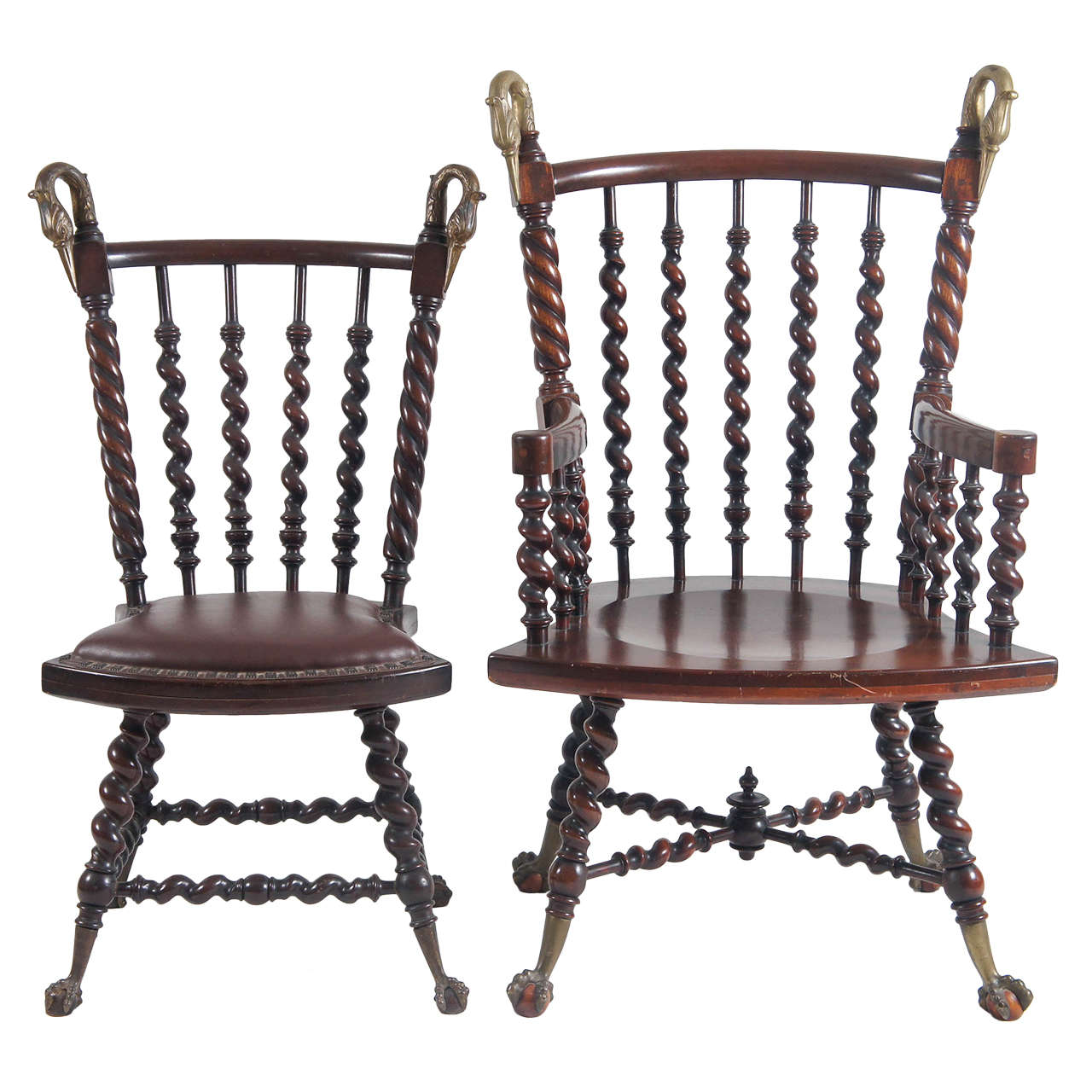 a pair of his and hers Victorian mahogany spindle chairs