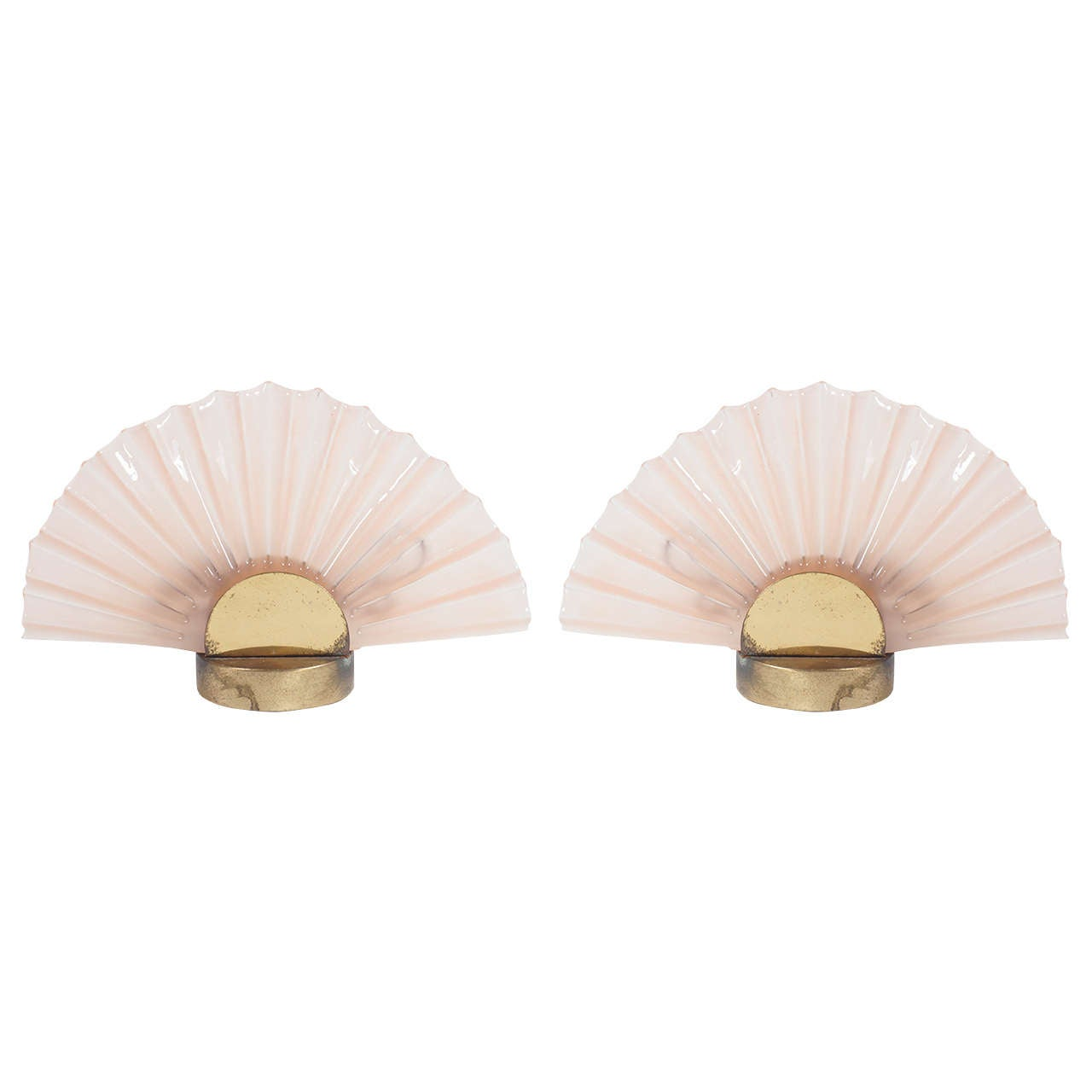 pair of Pink Murano glass clam shell lamps