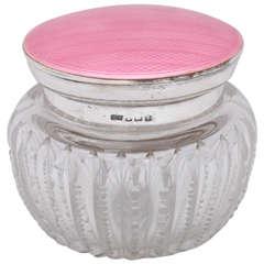 "Art Deco Sterling Silver, Pink Guilloche  Enamel and ""Zipper Cut"" Powder Jar"